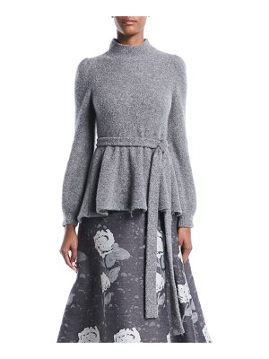 Co. Mock-Neck Bell-Sleeve Tie-Waist Crepe Cashmere Knit Sweater