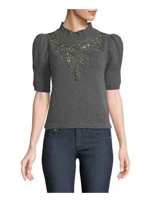 Co. Mock-Neck Pouf-Sleeve Wool-Cashmere Sweater w/ Chandelier Embellishment