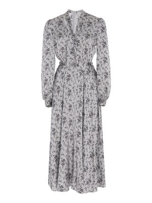Co. necktie belted floral silk-charmeuse midi dress