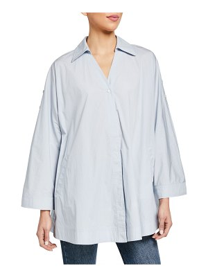Co. Oversized Collared Singe-Button Blouse