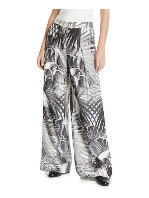 Co. Palm Print Wide-Leg Trousers
