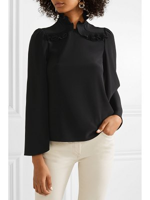 Co. pleated ruffle-trimmed crepe de chine blouse