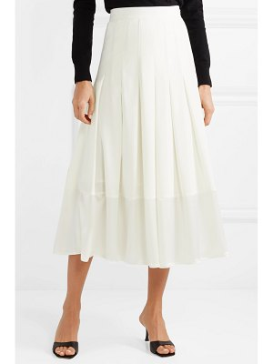 Co. pleated satin-trimmed crepe de chine skirt