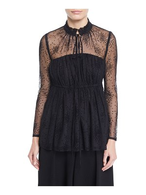 Co. Ruched-Neck Long-Sleeve Floral-Embroidered Mesh Blouse