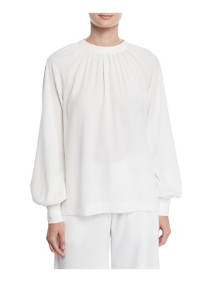 Co. Ruched-Neck Tieback Blouson-Sleeve Stretch-Crepe Tunic Blouse