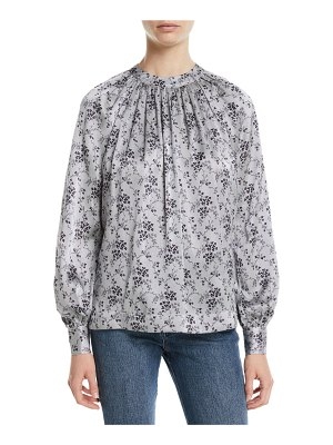 Co. Ruched-Neck Tieback Long-Sleeve Floral-Print Silk Blouse