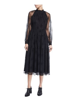 Co. Ruffle-Neck Long-Sleeve Floral-Embroidered Tiered Mesh Dress