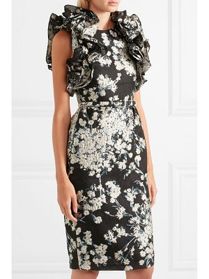Co. ruffled floral-jacquard dress
