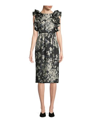 Co. Ruffled Sleeveless Metallic Floral-Brocade Cocktail Dress w/ Lace-Up Back