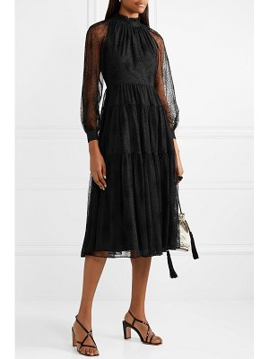 Co. ruffled tiered embroidered tulle midi dress