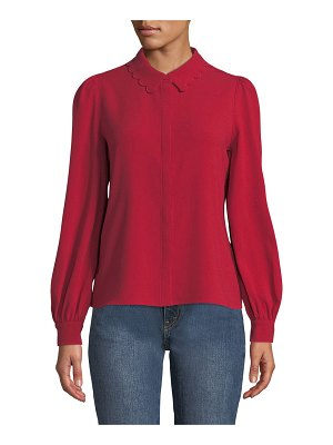 Co. Scalloped Collar Button-Front Blouse