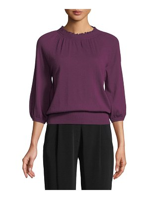 Co. Scalloped-Neck 3/4-Sleeve Fine Cashmere Knit Sweater