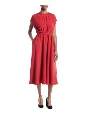 Co. Sleeveless Gathered-Bodice A-Line Kimono Midi Crepe Dress with Pockets