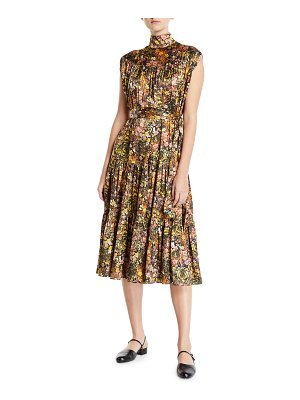 Co. Sleeveless Mock-Neck Floral Silk Dress