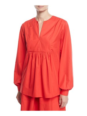 Co. Split-Neck Bib Long-Sleeve Light-Twill Tunic Blouse