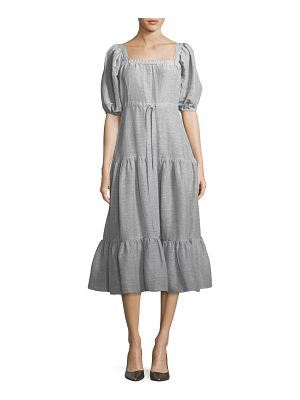 Co. Square-Neck Tiered Stripe Linen Long Dress