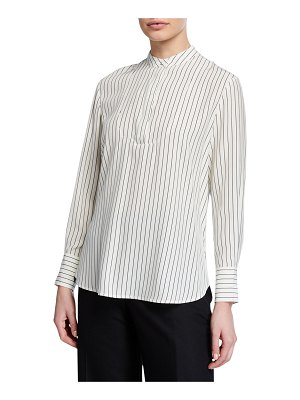 Co. Striped Satin Long-Sleeve Split Back Blouse
