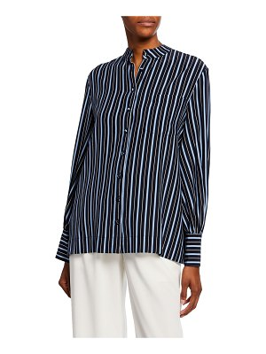 Co. Striped Silk Button-Front Shirt