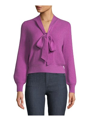 Co. Tie-Collar Ribbed Cashmere Knit Pullover Sweater
