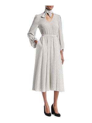 Co. Tie-Neck Long-Sleeve Belted Houndstooth Plaid Silk Midi Dress