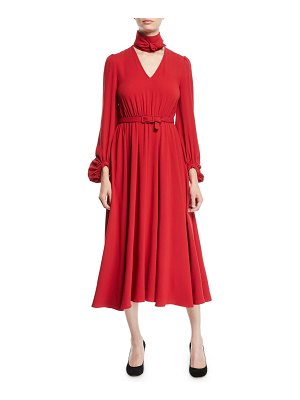 Co. Tie-Neck Long-Sleeve Belted Japanese Crepe Midi Dress