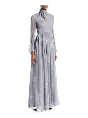 Co. Tie-Neck Long-Sleeve Floral-Print Silk Crinkled Chiffon Long Dress