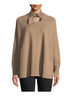 Co. Tie-Neck Long-Sleeve Wool-Cashmere Poncho Sweater