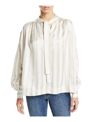 Co. Tie-Neck Striped Twill Poet Blouse