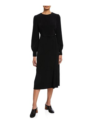 Co. Tifa Stretch Crepe Long-Sleeve Belted Dress