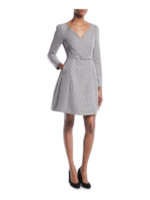 Co. V-Neck Long-Sleeve Belted Houndstooth Dress with Pockets