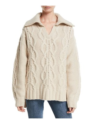 Co. V-Neck Long-Sleeve Cable-Knit Cashmere-Blend Sweater w/ Ribbed Collar