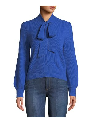Co. V-Neck Tie-Collar Ribbed Wool-Cashmere Pullover Sweater