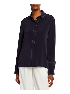Co. Wide-Cuffed Button-Front Blouse