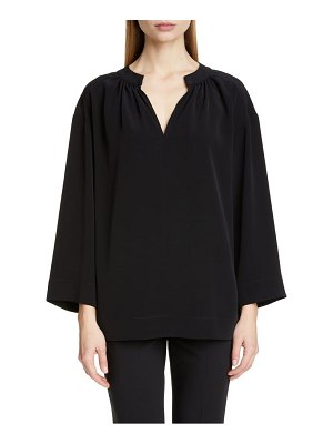 Co. wide sleeve gathered crepe tunic top