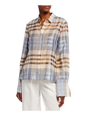 Co. Wool/Silk Plaid Button Front Shirt