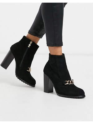 Co Wren block heeled boots with chain detail-black