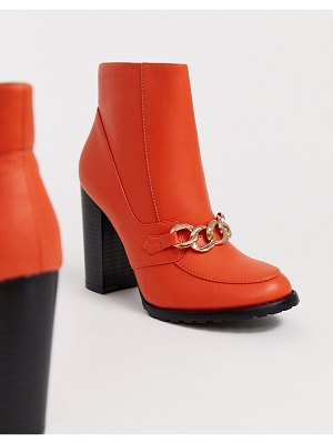 Co Wren block heeled boots with chain detail-orange