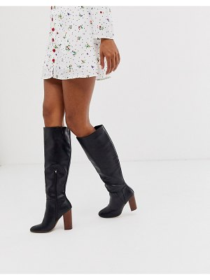 Co Wren heeled knee boots in black