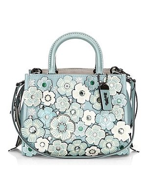 COACH 1941 crystal tea rose applique leather satchel