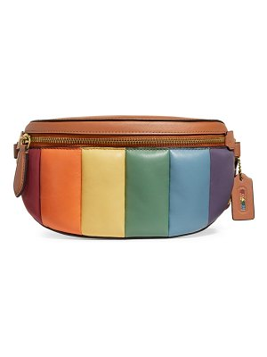 COACH bethany rainbow leather quilting belt bag
