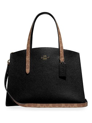 COACH Charlie Coated Canvas Signature Blocking Carryall Tote Bag