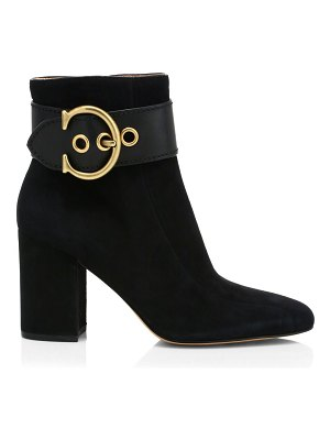 COACH dara c-buckle suede ankle boots