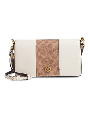 COACH dinky leather & signature canvas crossbody bag