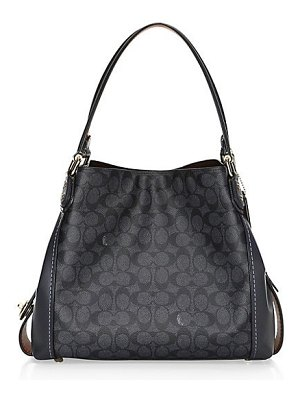 COACH edie coated leather canvas shoulder bag