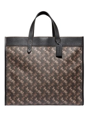 COACH field leather-trimmed coated canvas tote