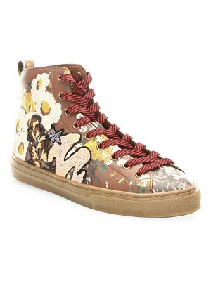 COACH floral leather high-top sneakers