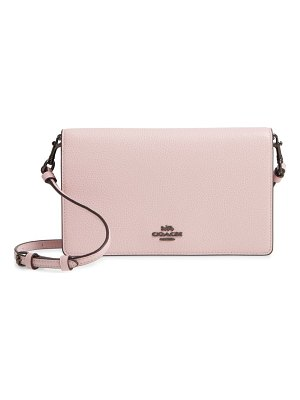 COACH foldover calfskin leather convertible clutch
