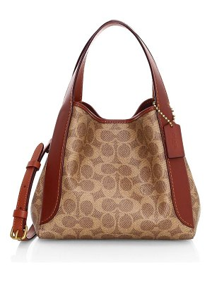 COACH hadley leather-trimmed signature coated canvas hobo bag