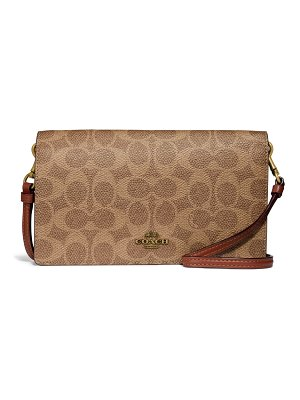 COACH hayden signature canvas & leather foldover convertible crossbody bag