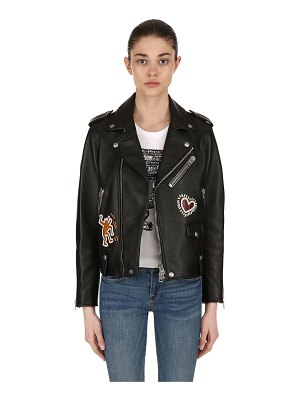 COACH Keith haring leather biker jacket